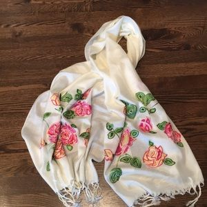 Silk and cotton embroidered scarf